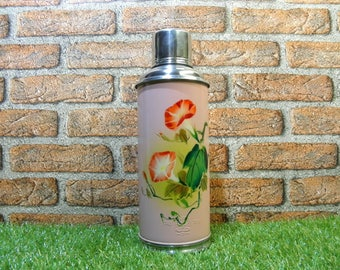 Vintage Thermos, Aluminum Thermos, SUNFLOWER SHANGHAI CHINA Thermos, Metal Camping Thermos, Floral Design BalMinDi, 1.200 liters capacity