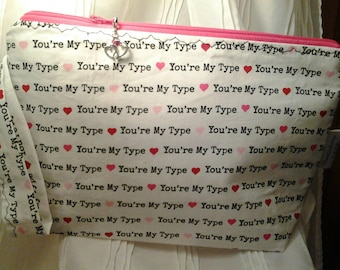 Your my type bag, Wedge project bag, Heart project bag, Crochet bag, Travel bag