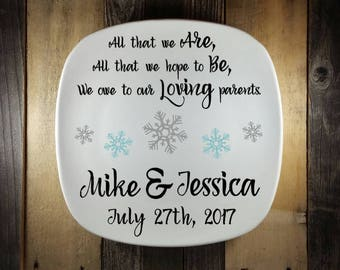 Parent Thank You Gift, Winter Theme Wedding, All That We Are Wedding, Custom, Parent Wedding Gift Ideas, Wedding Keepsake, Gift for Parent