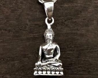 Silver Buddha Pendant - Buddha Charm - 925 Sterling Silver - Hand Cast -- Spiritual Jewellery