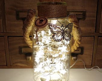 Stars in a Jar Shabby Chic LED bottle Lamp with Rope Handle & Jute Neck by JayEngrave