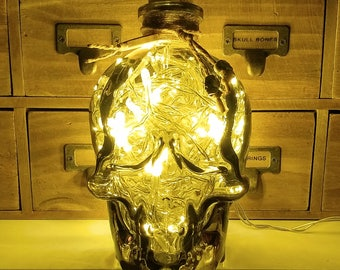 JayEngrave Pirate Style Smokey Glass Crystal Skull Head LED bottle lamp light