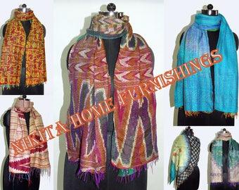 10 Pc Wholesale Lot Kantha Silk Scarf Assorted Design Reversible Dupatta Stole Bandana Floral Design Allover Scarves