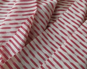 Red and White Ikat Fabric By The Yard