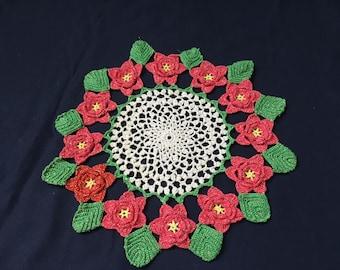 Sparkly Crocheted Christmas Poinsettia Doily