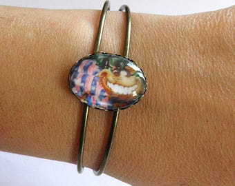 Bracelet, oil Chafouin, crazy cat, Alice in Wonderland painting