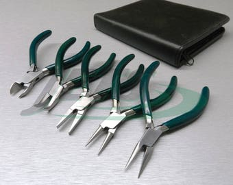 """5 Pc Jewelers Pliers Set Jewelry Making Beading Wire Wrapping Hobby 5"""" Plier Kit (1.5 FRE)"""