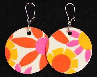 Retro Go-Go Reversible Pink Orange Yellow Handmade Flower Wallpaper Earrings