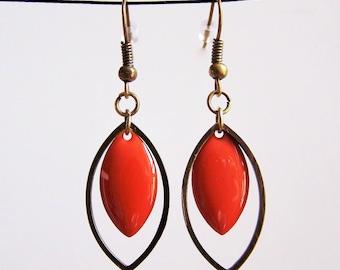 Brass ring and earrings orange enamel sequin