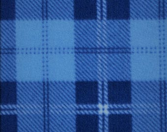 Blue Plaid Fleece, Blanket Fabric, Clothing/Apparel Fleece, Sewing Material, Home Decor/Craft Supplies, Yard/Half Yard/Fat Quarters