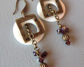 Bronze metal, Crystal and Pearl Earrings
