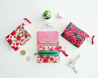 English Rose Mini Bifold Wallet, Keychain Wallet, Vegan Coin Wallet, Change Purse, Slim Wallet,  Minimalist Keychain, Cash Wallet
