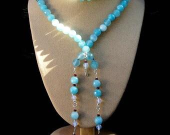 Aquamarine (gemstone), 925 sterling silver necklace