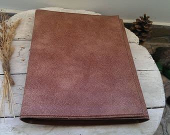 Vintage Folding Brown Leather Portfolio, Student Portfolio Bag, Office Folder, Retro Portfolio Bag from 1970s