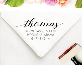 Custom Rubber Address Stamp - Personalized Gift For Her - Calligraphy Address Stamp - Modern Wedding Invitation - Last Name Address