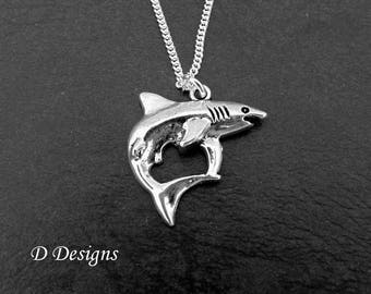 Shark Necklace, Silver Shark Pendant, Shark Charm Necklace, Shark Gifts, Shark Jewellery, Silver Charm Necklace, Beach Necklace