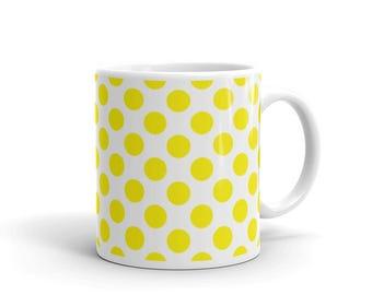Yellow Polka Dots Pattern Coffee Mug