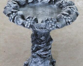 Outdoor 1 Piece Concrete Bird Bath - Patio Bird Bath - Garden Bird Bath Statue - Patio Bird Bath - Concrete Bird Feeder - Outdoor BirdFeeder