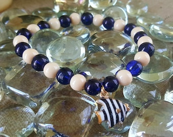 Nautical Bracelet White and Blue Beaded Elastic Bracelet