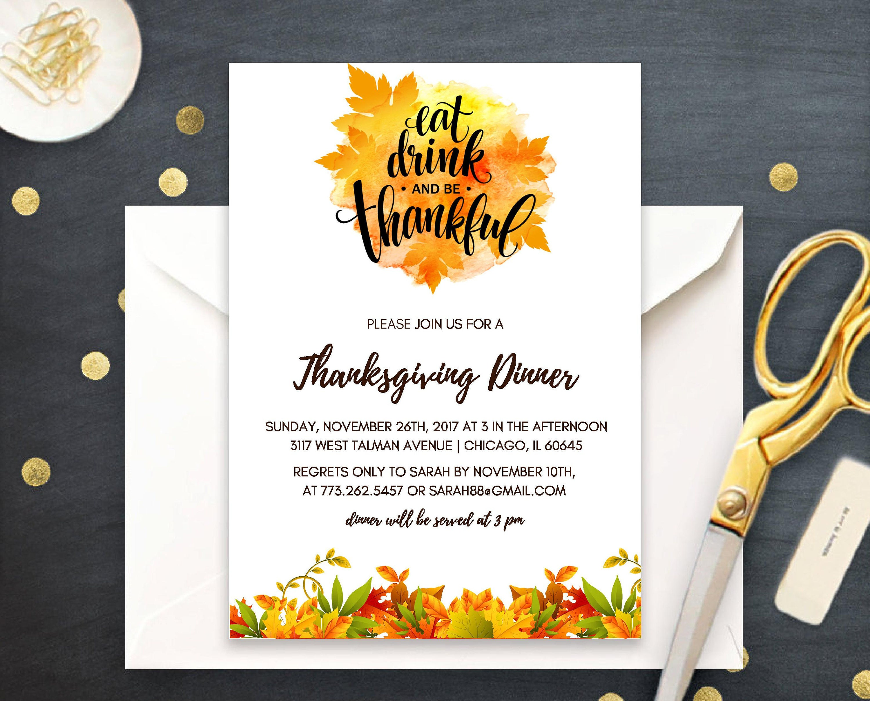 printable thanksgiving invitation give thanks dinner invite fall