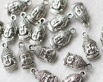 Set of 50, wholesale charms, bulk charms, yoga charms, buddha charms, buddha head, boho charms, religion charms, silver charms, metal charms