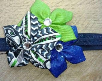 Seattle Seahawks bow, flower bow, Seahawks bow, Seahawks flower bow, Seahawks, glitter bow, green and blue bow, Seattle Seahawks, NFL,