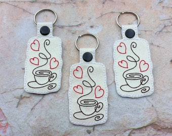 Coffee key chain.Embroidered key chain.