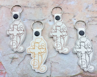 Cross key chain.Embroidred key chain.