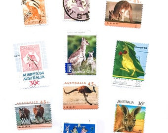 10 x Kangaroo used Australian postage stamps - Australia, off paper, all different for collage, stamp collecting, decoupage