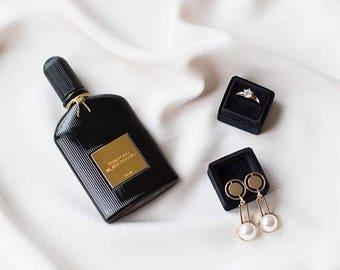 Ring Box - Velvet Ring Box - Vintage Style - Proposal Ring Box - Engagement ring box - Wedding - Personalized Gift - Black