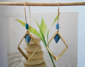 Blue sequin gold earrings