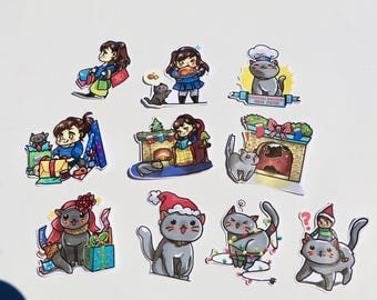 HOLIDAY CHIBI Die Cuts | a girl and her cat | perfect for Travelers Notebook Decoration