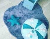 Coussin de sol rond patchwork mint et bleu lagon - mixte