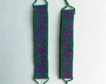Handmade loom-woven bracelets with flowers