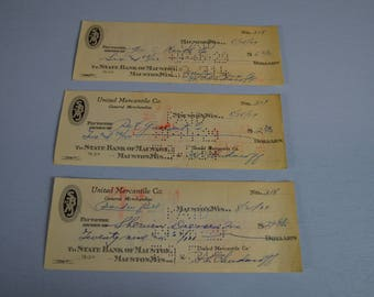1929 Canceled Checks with Bank Statement, Great Depression Accounting, Early 1900 Ephemera,  #481