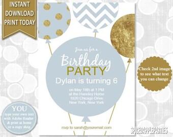 Balloon Birthday - Balloon Invitation, First Birthday, Balloon, Birthday Party,1st Birthday,Printable Invitation,Balloon Invite,Boy Birthday