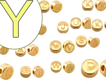 alphabet bead Y 7mm gold plated #3852