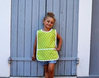 Art Smock 2-4 Years 100% Cotton Green with White Stars Unisex School Painting Apron Tablier Fille Garçon Enfant Ecolier Maternelle