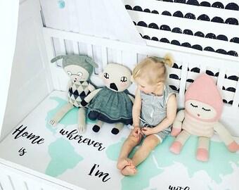 Crib Sheet Home is, Worldmap, Fitted Crib Sheet, Crib Bedding, Baby Bedding, Organic Crib Sheet, Baby Shower, Mint Crib Sheet