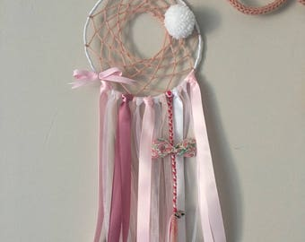 Dream catcher dreamcatcher for girl pink, white, pink, Bell, liberty and tassel