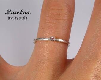 Natural Rose Tourmaline Hammered Silver Stacker Ring, October Birthstone 1.5 mm Round Cut Genuine Rose Tourmaline Ring Dainty Stacking Ring