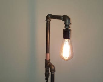 Edison table lamp  industrial . Iron piping  style Handmade in U.S.A.