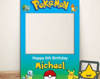 Custome Designed Pokemon Party Photo Booth Prop (DIGITAL FILE ONLY) Pokemon Party Supplies, Pokemon Birthday