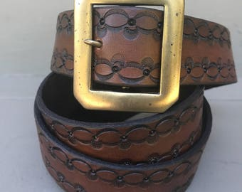 Stamped Leather Belt