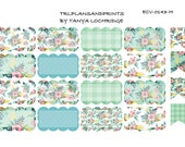 ECV-0143-H Stickers - Mint, Peach & Pink Floral! Boho/Shabby Chic Scalloped Half-Box - Erin Condren, Happy Planner, Recollections, Notebooks