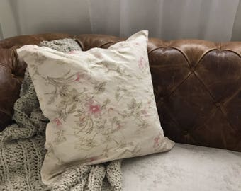 Shabby Chic Floral Pillow Cover Rachel Ashwell Linen & Canvas Fabric