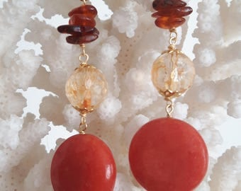 Silver earrings, hard stones orange jade, Citrine quartz and Amber