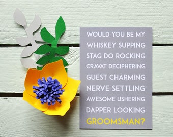Will You Be My Groomsman? Postcard - Whiskey Supping. Funny Groomsman Card - Groomsman Proposal Card - Quirky.