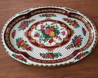 Large floral tin serving daher tray