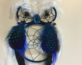 Blue and white Owl Dreamcatcher